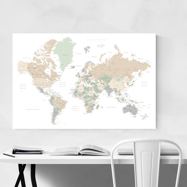 Pastel World Map with Cities Art Print