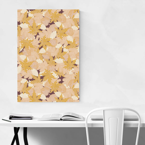 Gold Autumn Fall Leaves Pattern Art Print