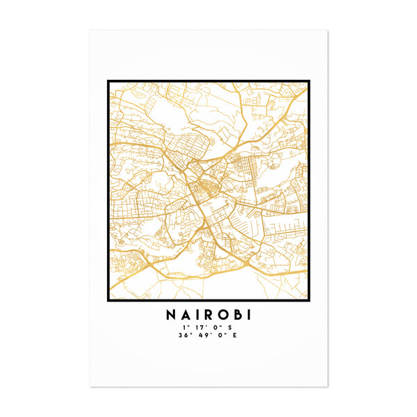 Minimal Nairobi City Map Art Print