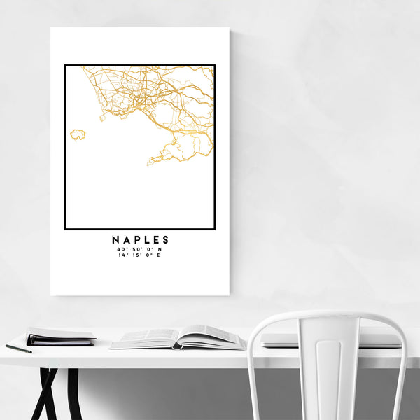 Minimal Naples City Map Art Print