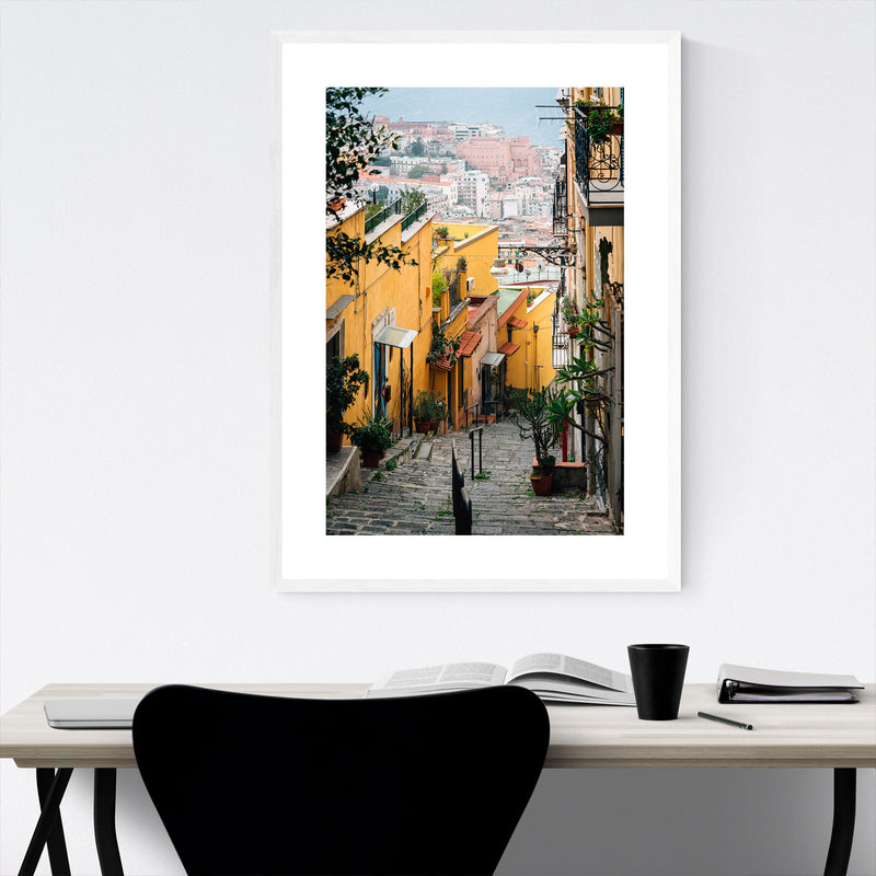 Naples Italy Pastel Architecture Framed Art Print