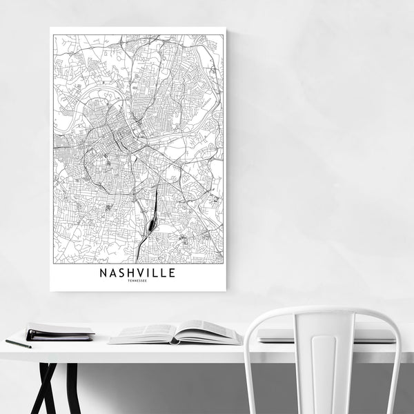 Nashville Black & White City Map Art Print