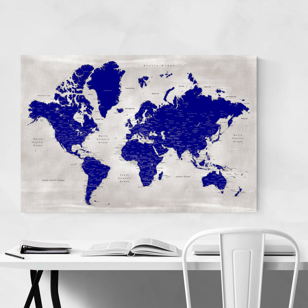 Blue World Map with Cities Art Print