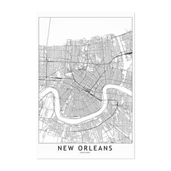photo regarding Printable Maps of New Orleans called Fresh new Orleans Black White Map Print, Canvas, Metallic, Framed