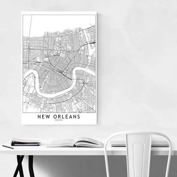 New Orleans Black & White Map Art Print