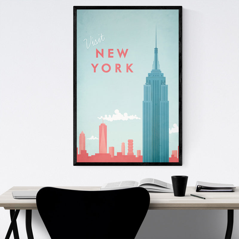 Minimal Travel Poster New York Framed Art Print