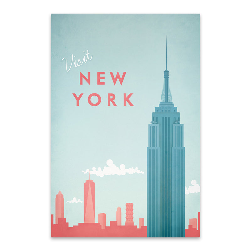 Minimal Travel Poster New York Metal Art Print