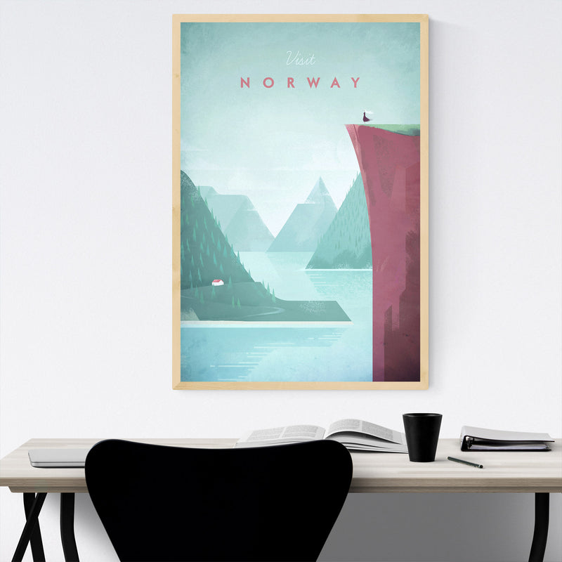 Minimal Travel Poster Norway Framed Art Print