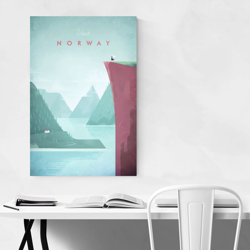 Minimal Travel Poster Norway Metal Art Print