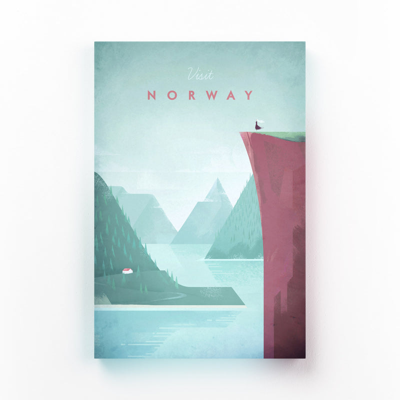 Minimal Travel Poster Norway Mounted Art Print