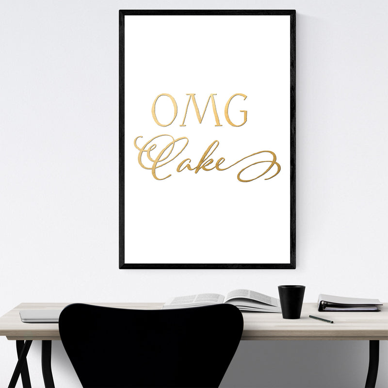 Cake Baking Kitchen Typography Framed Art Print