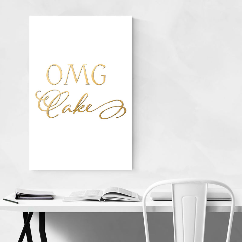 Cake Baking Kitchen Typography Canvas Art Print