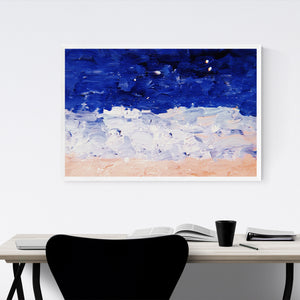 Blue & Pastel Abstract Painting Framed Art Print