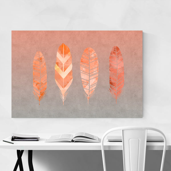 Orange Feather Watercolor Fall Art Print