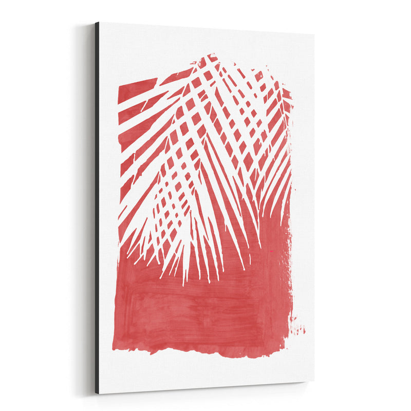 Red Nature Botanical Palm Leaves Canvas Art Print