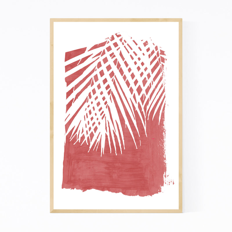 Red Nature Botanical Palm Leaves Framed Art Print