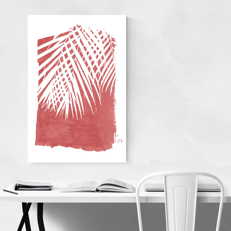Red Nature Botanical Palm Leaves Art Print