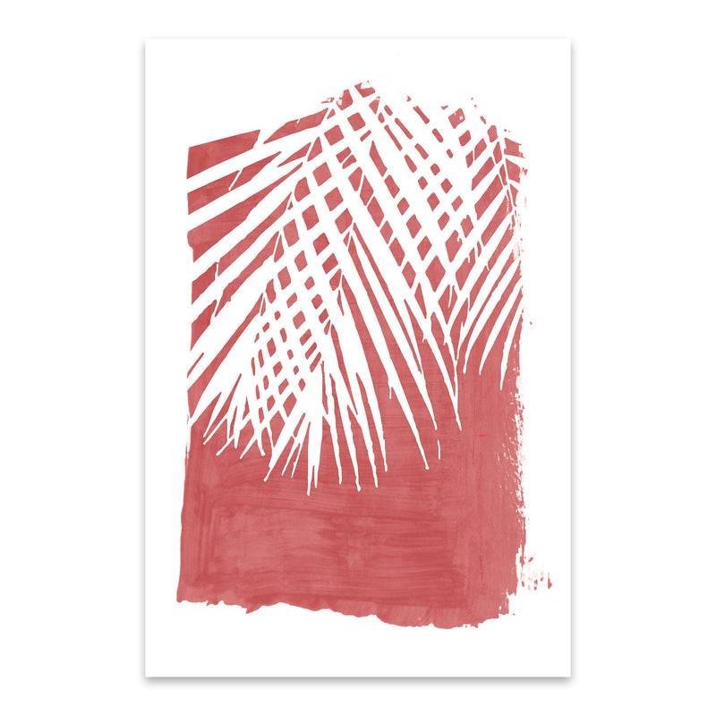 Red Nature Botanical Palm Leaves Metal Art Print