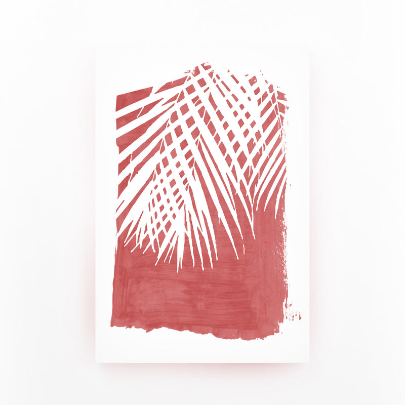 Red Nature Botanical Palm Leaves Mounted Art Print