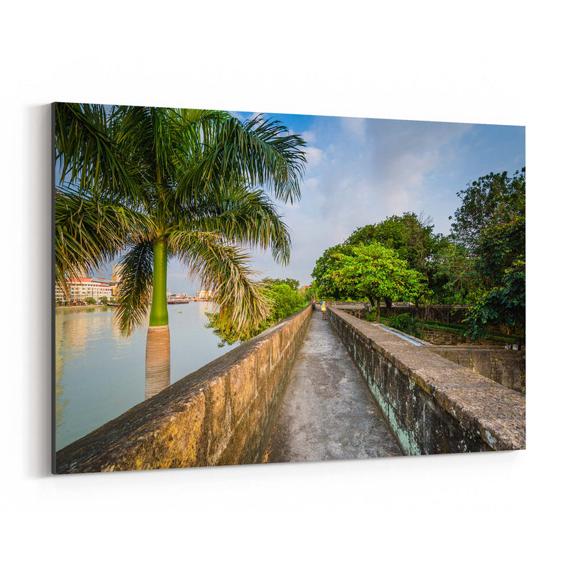 Manila Fort Santiago Palm Trees Canvas Art Print