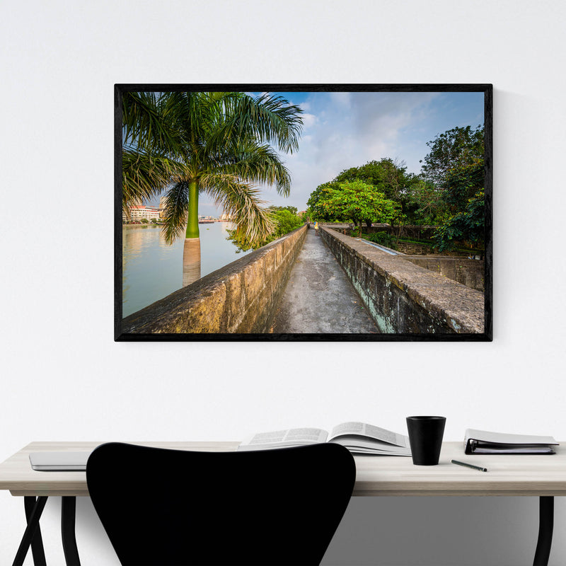 Manila Fort Santiago Palm Trees Framed Art Print