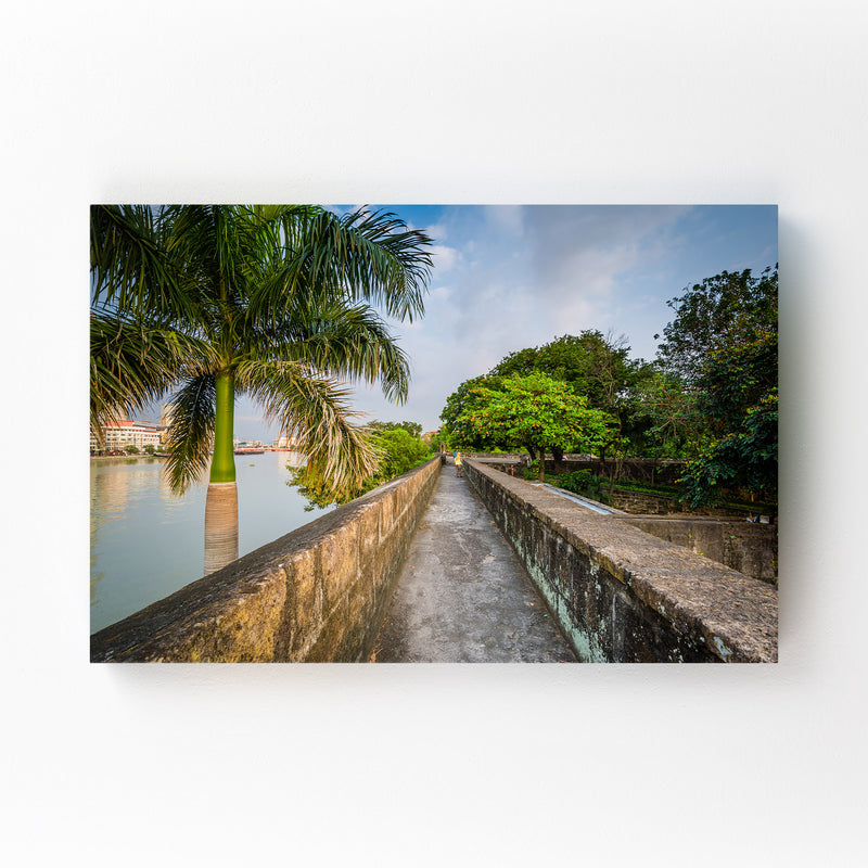 Manila Fort Santiago Palm Trees Mounted Art Print