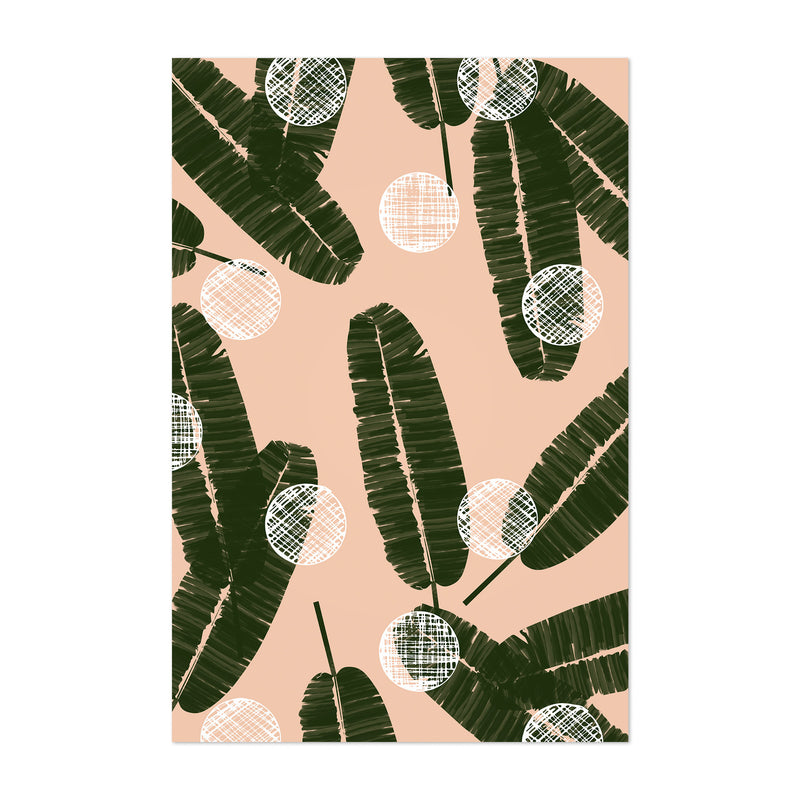 Green Abstract Palm Leaves Blush Art Print