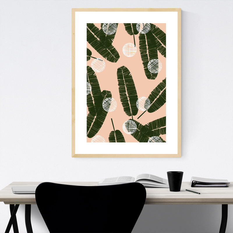 Green Abstract Palm Leaves Blush Framed Art Print
