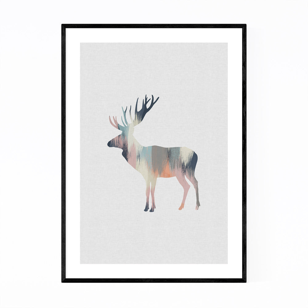 Pastel Abstract Deer Buck Animal Print, Canvas, Metal, Framed Wall ...