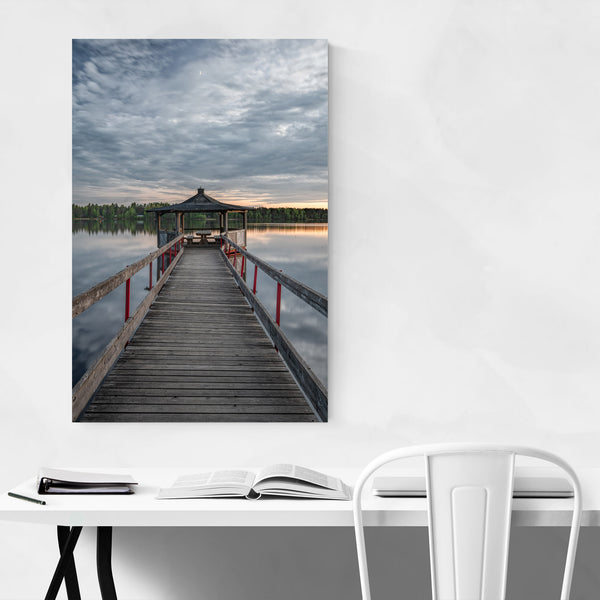 Umea Sweden Lake Dock Sunset Art Print