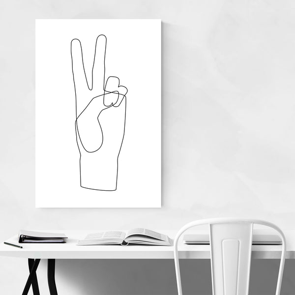 Minimal Peace Hand Line Drawing Art Print