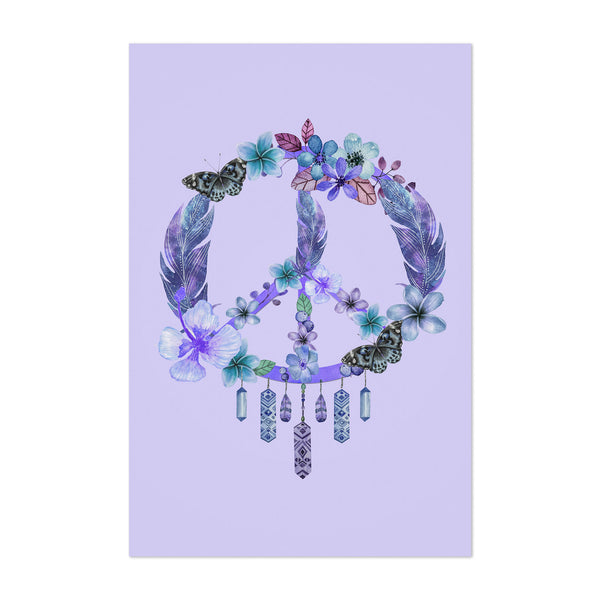 Purple Dreamcatcher Peace Floral Art Print