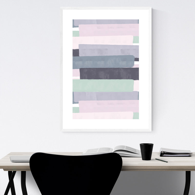 Pink Abstract Pastel Painting Framed Art Print