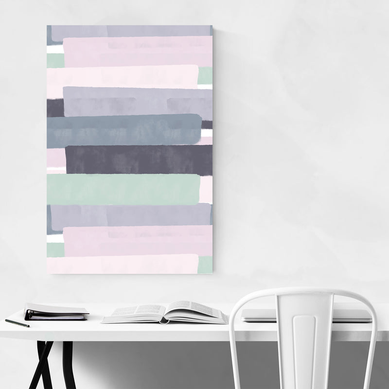 Pink Abstract Pastel Painting Metal Art Print
