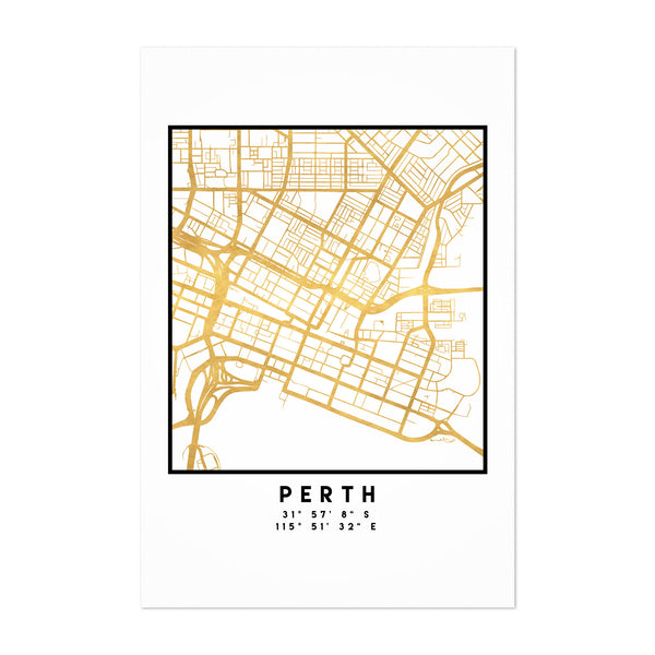Minimal Perth City Map Art Print