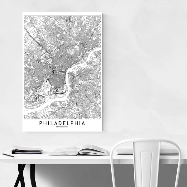 Philadelphia Black & White\ Map Art Print