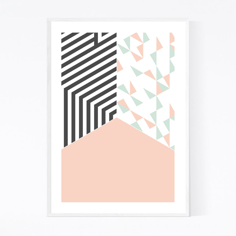 Abstract Shapes Pastel Pattern Framed Art Print