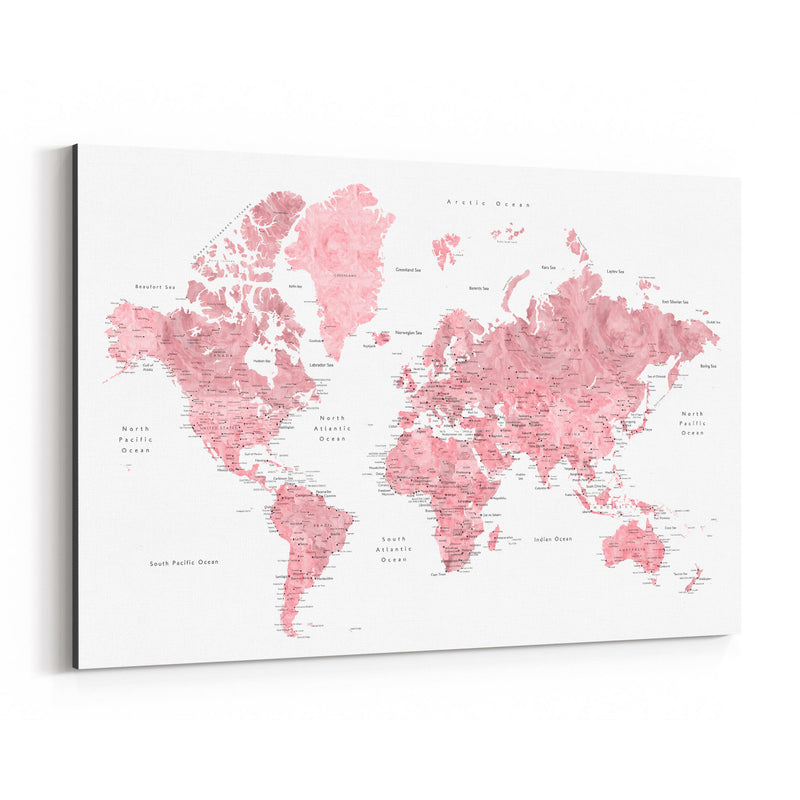 Pink Watercolor World Map  Canvas Art Print