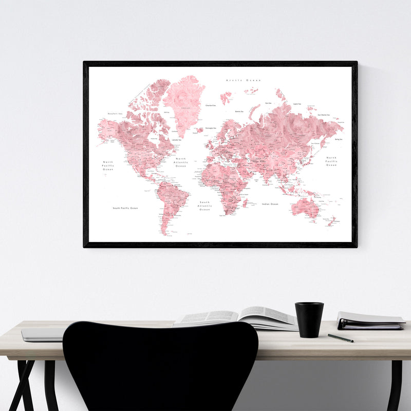 Pink Watercolor World Map  Framed Art Print