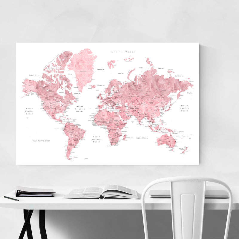 Pink Watercolor World Map  Metal Art Print