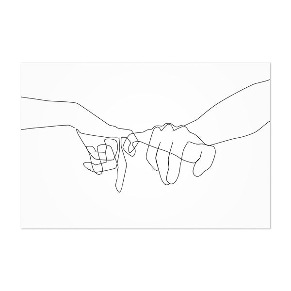 Minimal Hand Love Line Drawing Art Print