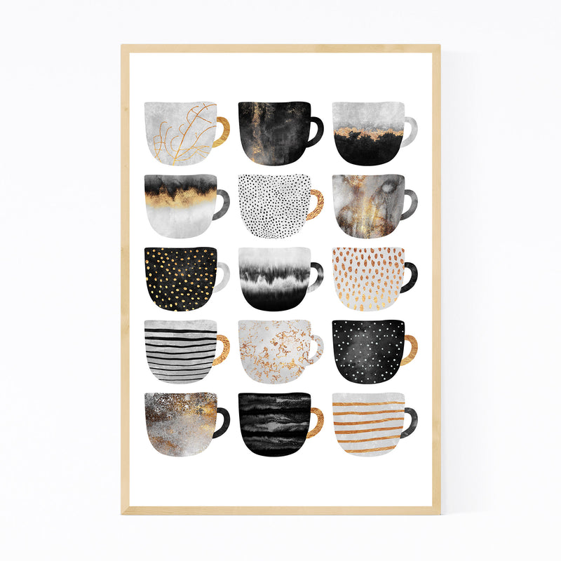 Cute Kitchen Decor Coffee Cups Framed Art Print