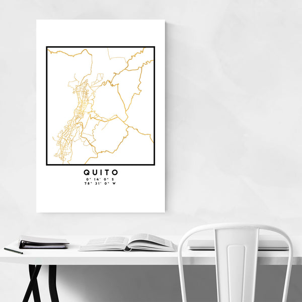 Minimal Quito City Map Art Print