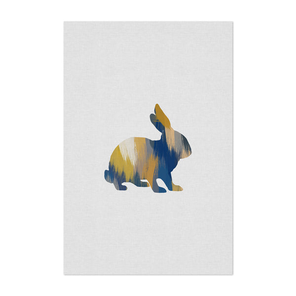 Abstract Blue Rabbit Animal Art Print