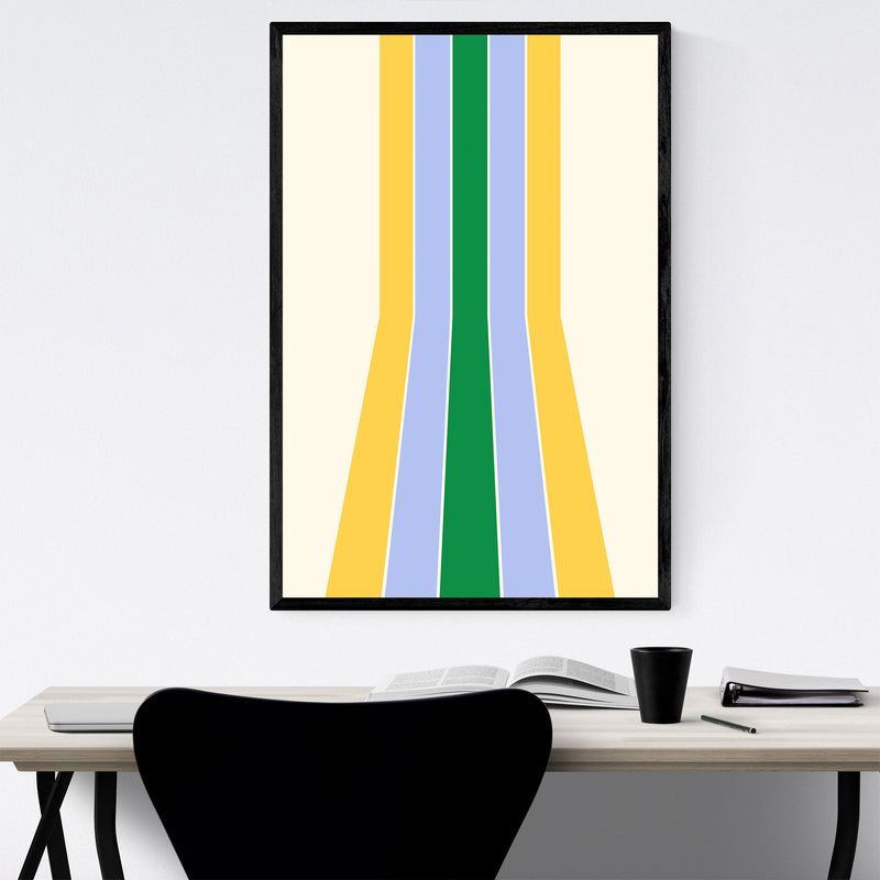 Retro Abstract Pastel Line Framed Art Print