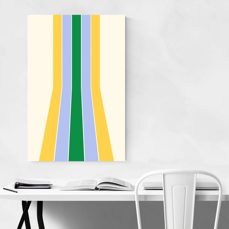 Retro Abstract Pastel Line Metal Art Print