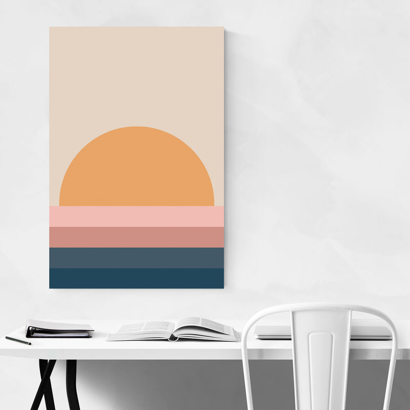 Retro Abstract Sunset Canvas Art Print