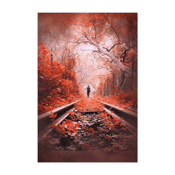 Train Tracks Autumn Tree Leaves Art Print