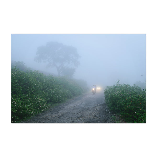 Motorcylce Fog Dirt Road Art Print