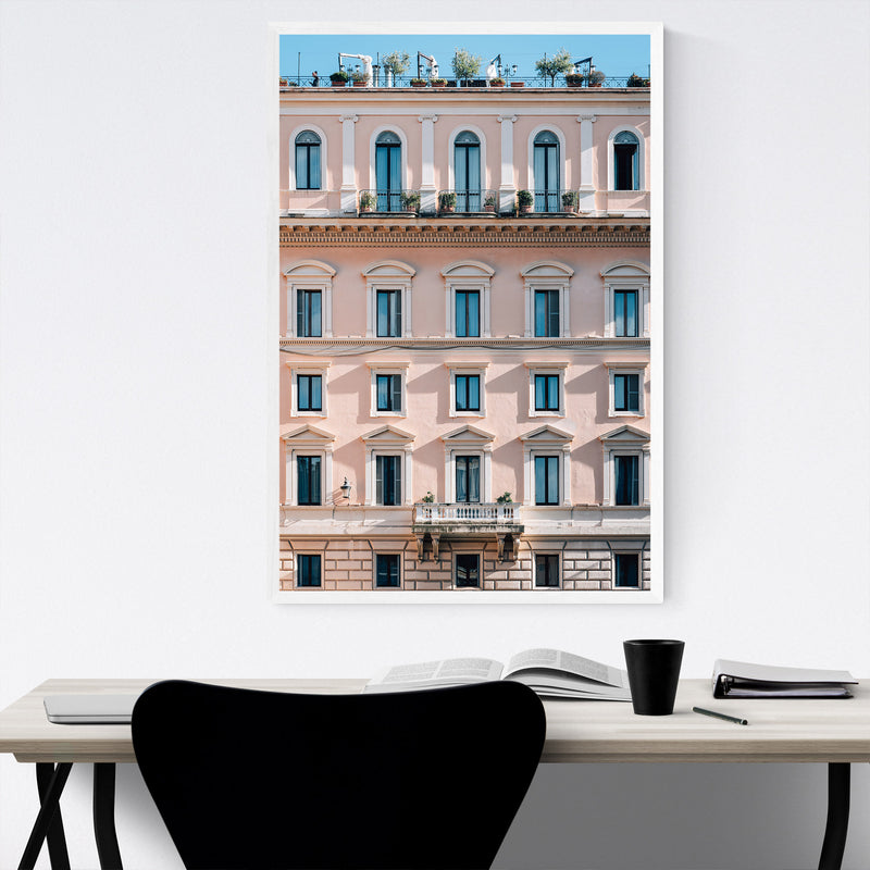 Rome Italy Pink Pastels Framed Art Print